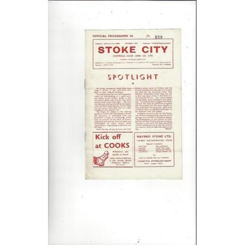 1958/59 Stoke City v Lincoln City Football Programme