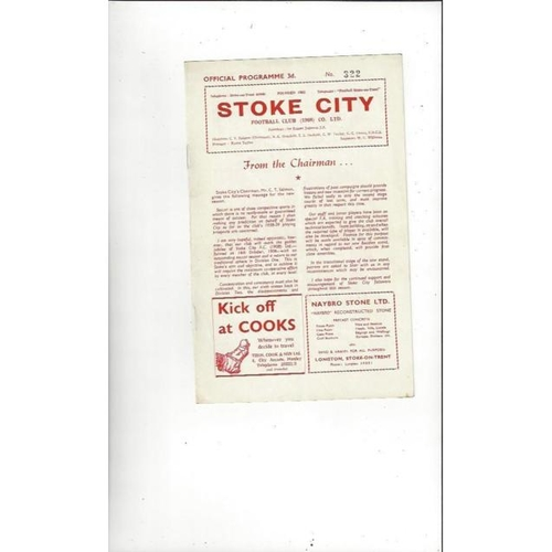 1958/59 Stoke City v Sheffield Wednesday Football Programme