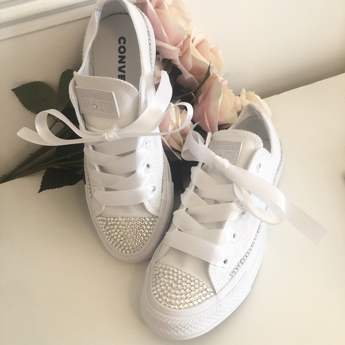 Wedding Swarovski Crystal Converse Trainers (Pure White)