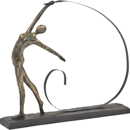 Antique Bronze Arched Back Ribbon Dancer Sculpture