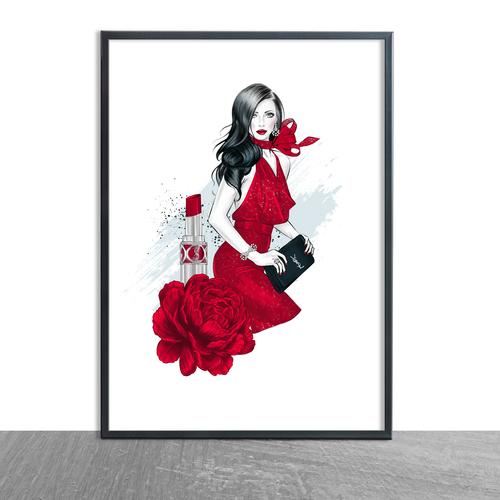 Red & Black Floral Bag & Lipstick