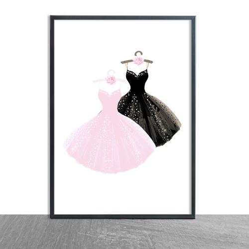 Pink & Black Sparkly Dresses