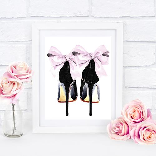 Pink & Black Bow Heels