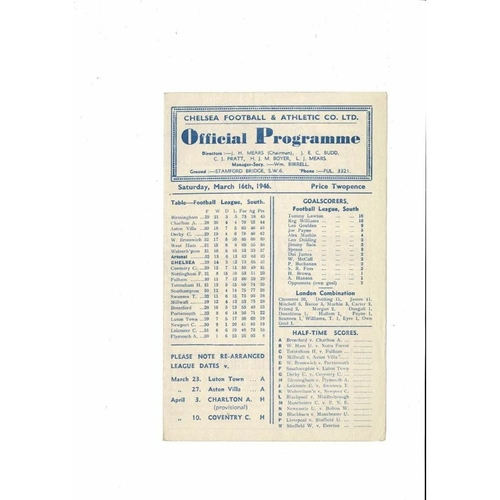 1945/46 Chelsea  v Arsenal Football Programme