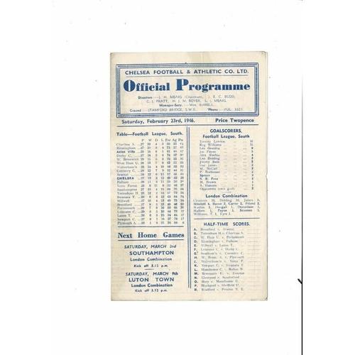 1945/46 Chelsea v Aston Villa Football Programme Feb 23rd
