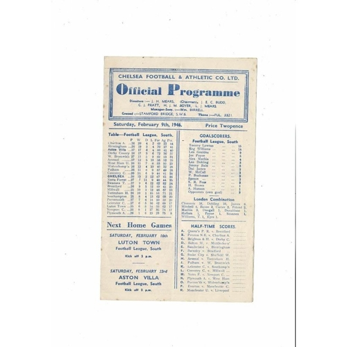 1945/46 Chelsea v Aston Villa FA Cup Football Programme Feb 9th