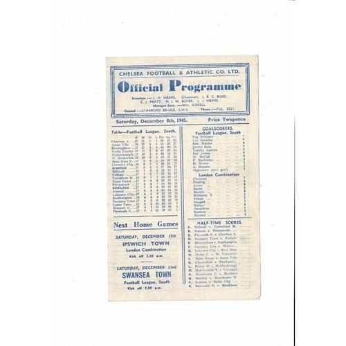 1945/46 Chelsea v Brentford Football Programme
