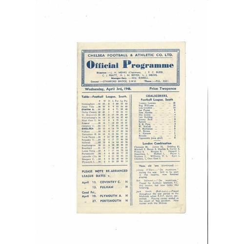 1945/46 Chelsea v Charlton Athletic Football Programme