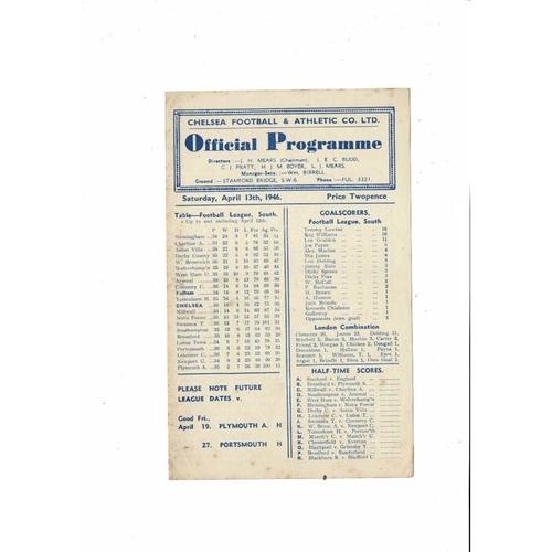 1945/46 Chelsea v Fulham Football Programme