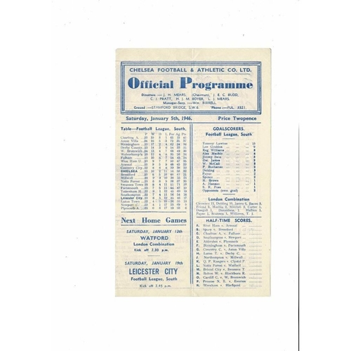 1945/46 Chelsea v Leicester City FA Cup Football Programme Jan 5th