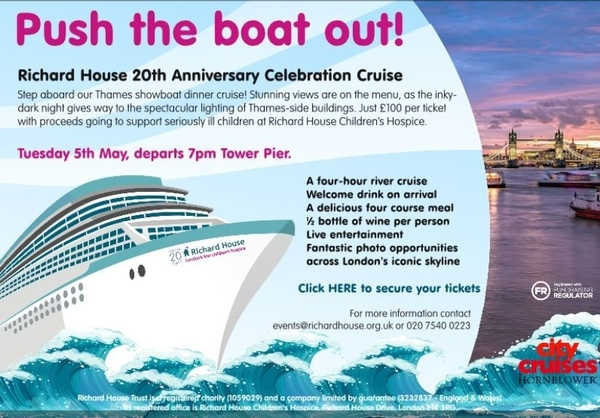 Join HEA and Richard House at the Charity's 20th Anniversary Boat Cruise on Tuesday 5th May 2020.