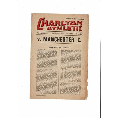 1948/49 Charlton Athletic v Manchester City Football Programme