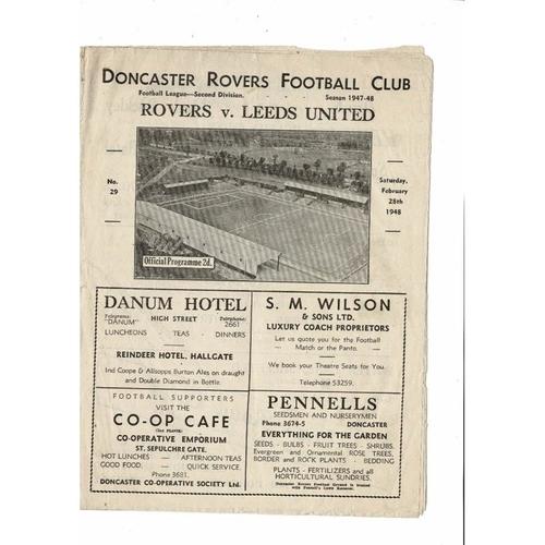 1947/48 Doncaster Rovers v Leeds United Football Programme