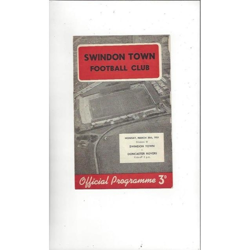 1958/59 Swindon Town v Doncaster Rovers Football Programme