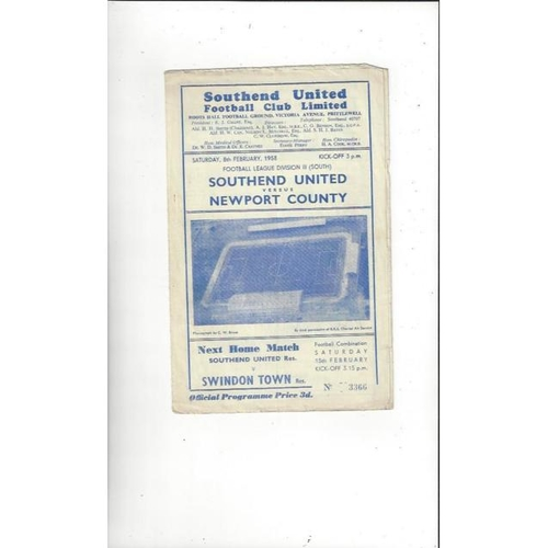 1957/58 Southend United v Newport County Football Programme