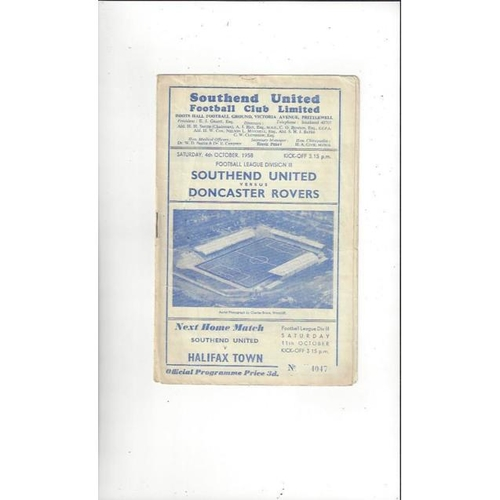 1958/59 Southend United v Doncaster Rovers Football Programme