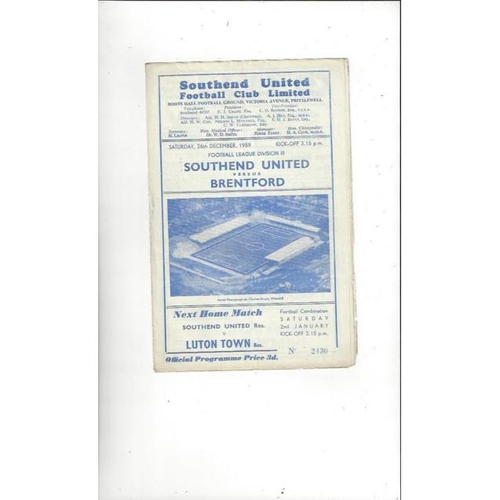 1959/60 Southend United v Brentford Football Programme