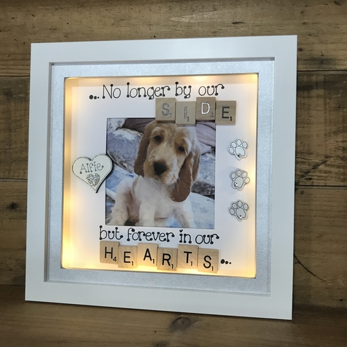 """LED """" no longer by our side """" pet memorial frame"""