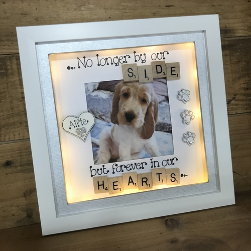 "LED "" no longer by our side "" pet memorial frame"