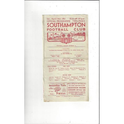 1950/51 Southampton v Manchester City Football Programme