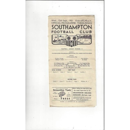 1951/52 Southampton v Doncaster Rovers Football Programme