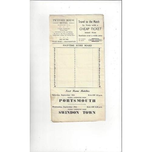 1951/52 Southampton v Doncaster Rovers Football Programme