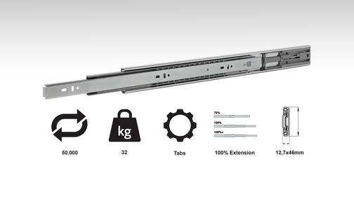 CC20 (32 Kg Medium Duty Full Extension Slide W/Push Open)