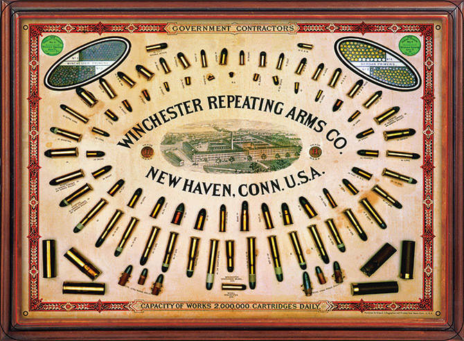 tin Winchester Repeating Arms Co Firearms Bullet Board Gun Rifle sign