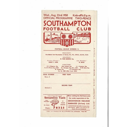 1950/51 Southampton v Doncaster Rovers Football Programme