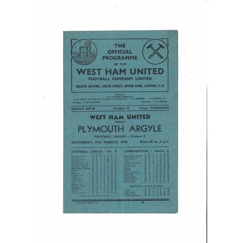 1947/48 West Ham United v Plymouth Argyle Football Programme