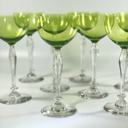 8 Chartreuse green finest crystal tall wine glasses