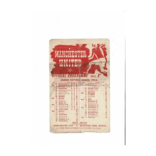 1945/46 Manchester United v Burnley Football Programme
