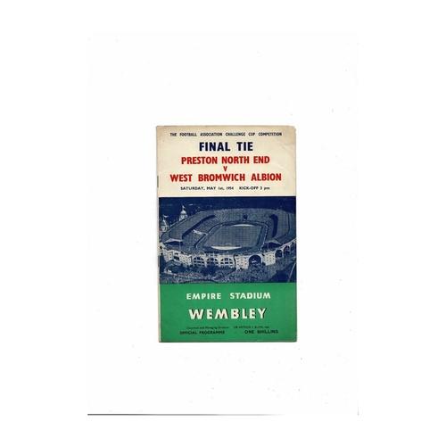 1954 Preston v West Bromwich Albion FA Cup Final Football Programme