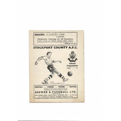 1954/55 Stockport County v Southport Football Programme