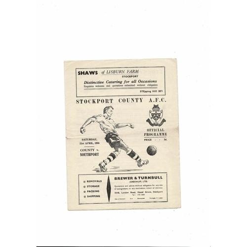 1955/56 Stockport County v Southport Football Programme