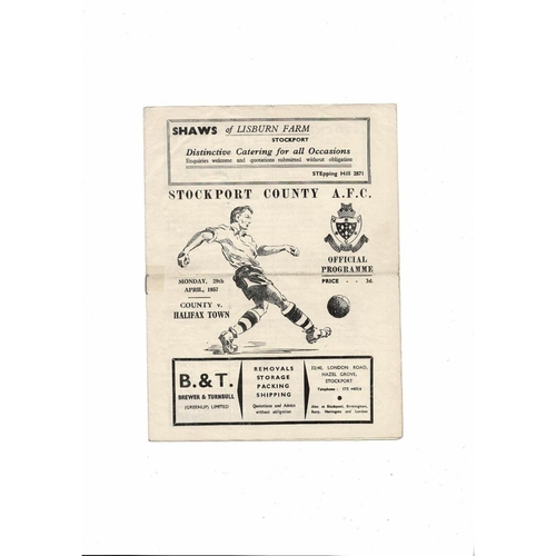 1956/57 Stockport County v Halifax Town Football Programme