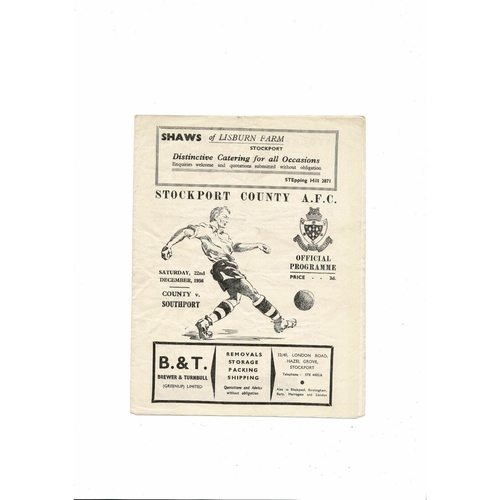1956/57 Stockport County v Southport Football Programme