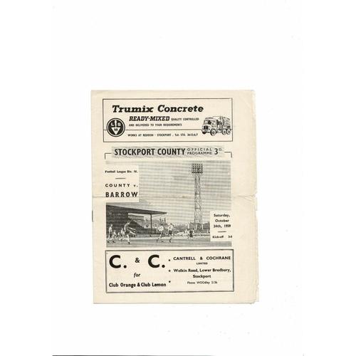 1959/60 Stockport County v Barrow Football Programme