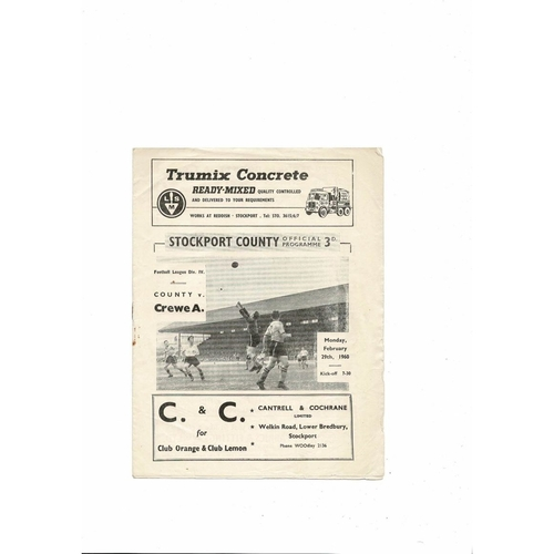 1959/60 Stockport County v Crewe Alexandra Football Programme