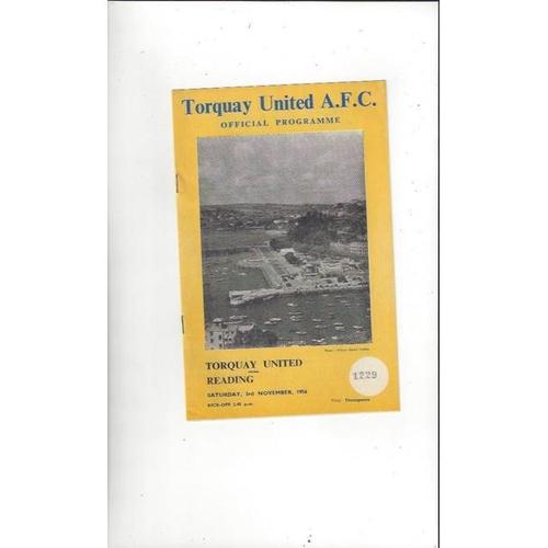 1956/57 Torquay United v Reading Football Programme