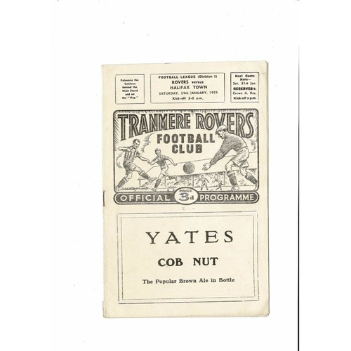 1958/59 Tranmere Rovers v Halifax Town Football Programme