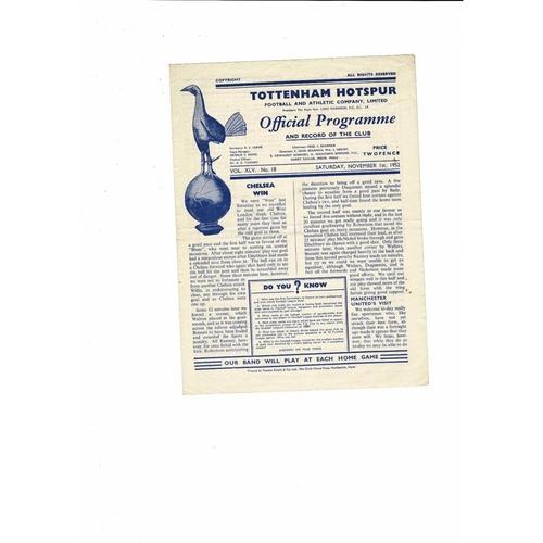 1952/53 Tottenham Hotspur v Manchester United Football Programme