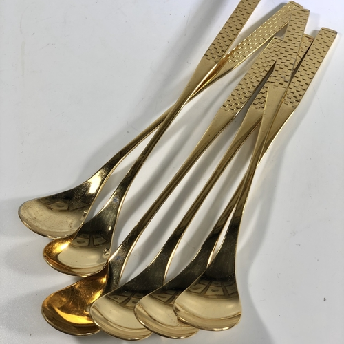 Chic set of 1970s gold plated bar spoons
