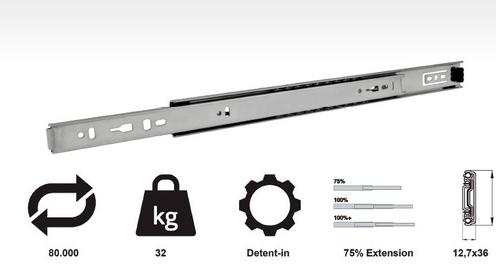 Model 766 (32 kg medium duty 3/4 extension slides)
