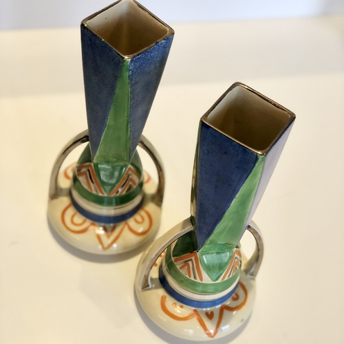 Jazz Age hand painted Art Deco tall vases