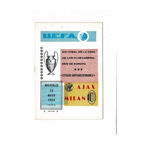 1969 Ajax v AC Milan European Cup Final Football Programme