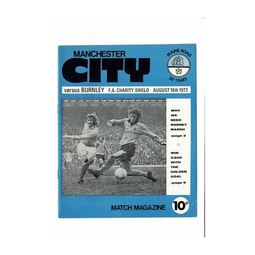 1973 Manchester City v Burnley Charity Shield Football Programme