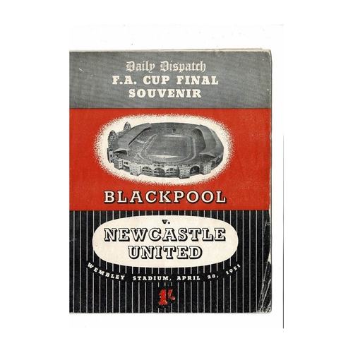1951 FA Cup Final Blackpool v Newcastle United Souvenir Broucher