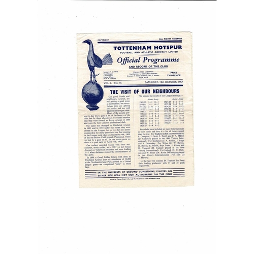 1957/58 Tottenham Hotspur v Arsenal Football Programme