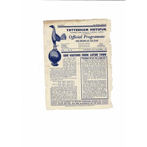1957/58 Tottenham Hotspur v Luton Town Football Programme